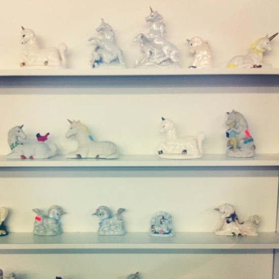 @faythelevine found this collection of unicorns at a thrift store.