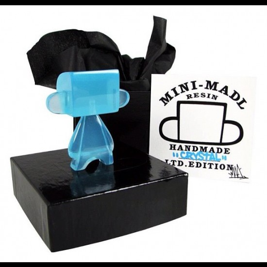 Mini resin blue Mad*l, gone in a flash, by @madtoydesign