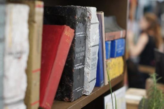 Book Art: Bricks Painted to Look Like Books