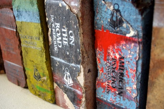 Book Art: Bricks Painted to Look Like Books