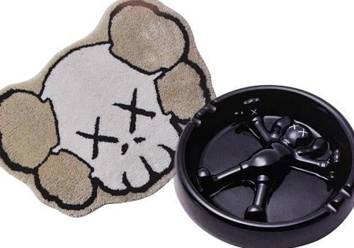 KAWS x Gallery 1950 carpet and ashtray
