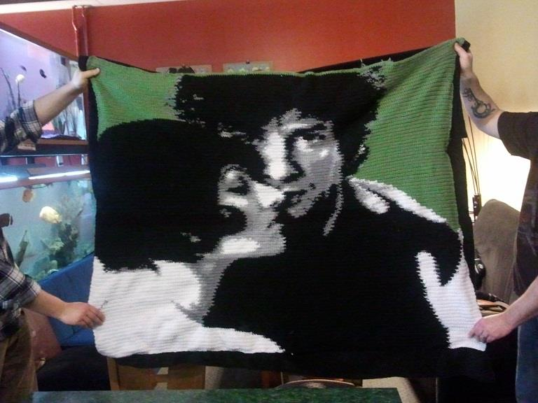 Amanda Palmer and Neil Gaiman blanket by Joan of Dark