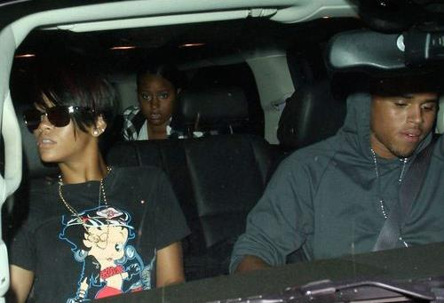 Rihanna and Chris Brown in car