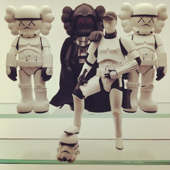 KAWStroopers from the designer toys collection of @toykio, on display in Berlin, Germany.