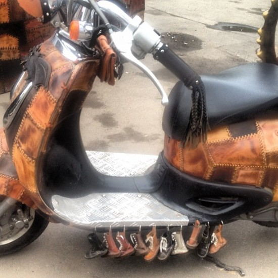 Lots of tiny boots on this Moscow-based scooter. WTF? Photo by @sasha_boots.