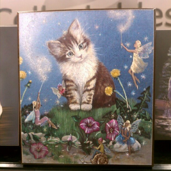 Cat with fairies, found in Barstow and dedicated to me by @2bithack. Thank you!