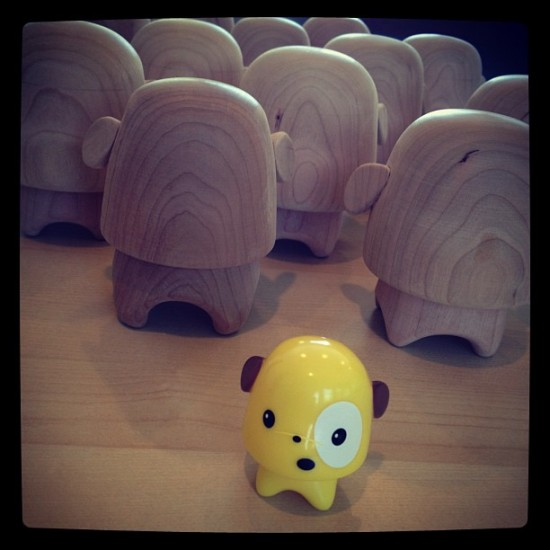 Looks like Marshall's designer toys pal, Gumdrop is getting the wood treatment by @64colors!
