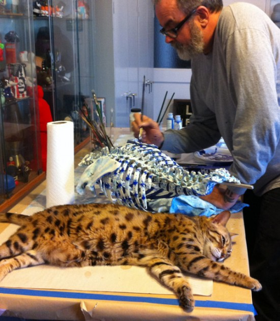 Edward Goralsky and Frank Kozik customizing a Kiehl's Br. Bones mascot.