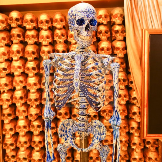 Kiehl's Mr. Bones customized skeletons by Frank Kozik