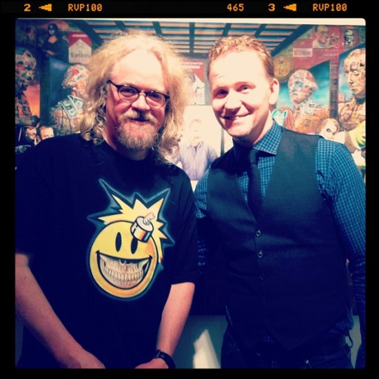 "Ron English and Morgan Spurlock before ""The Mistake"" by @birdmanphotos"