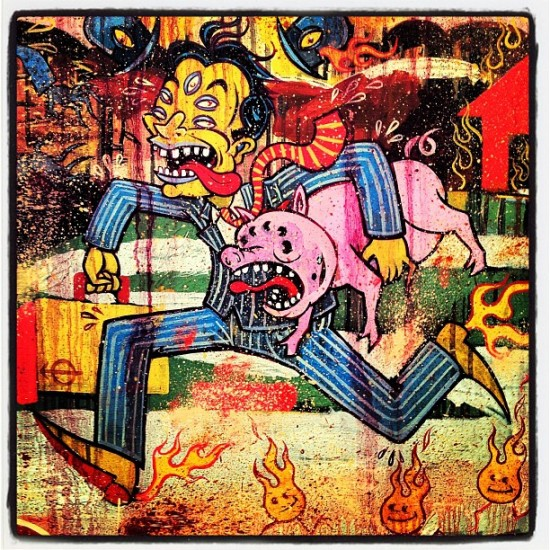 """I Owe You One Pig, By the Way Your Daughter's Pregnant"" (detail) by Paul Chatem at the Shooting Gallery in San Francisco, photo by @jeremyriad"
