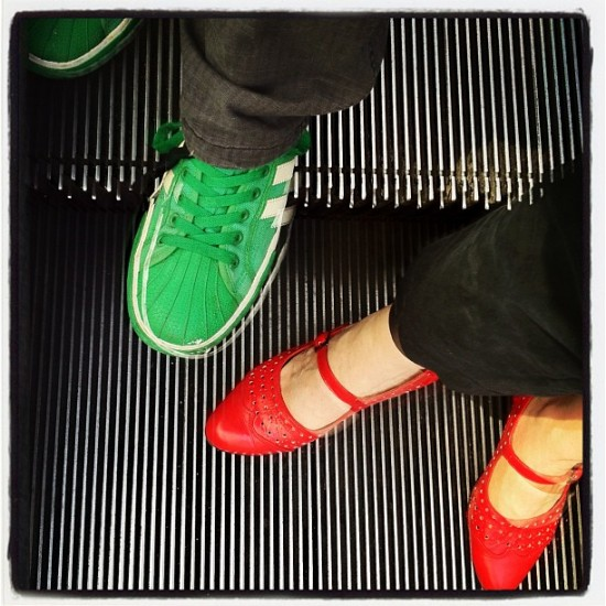 On the run in San Francisco: green sneakers @jeremyriad and red Re-Mix shoes @medulao