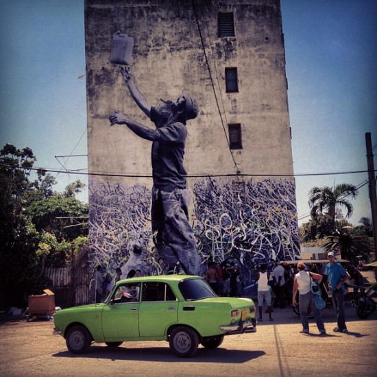 Jose Parla and @jr_artist collabing in Havana. Couldn't help posting one more. Also dig that green car.