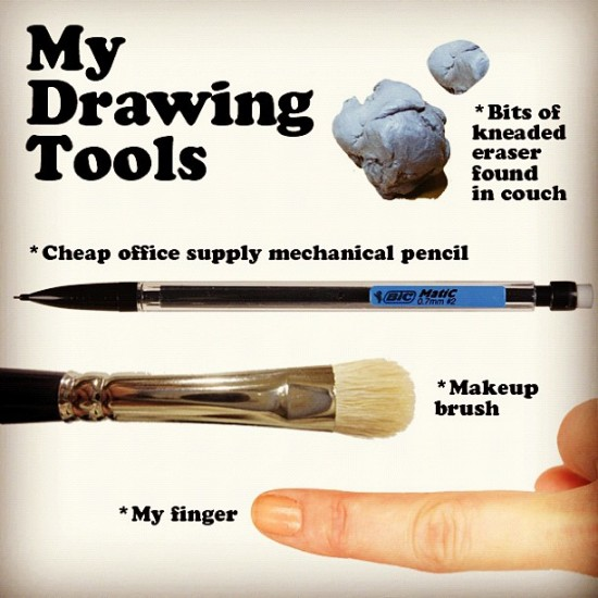 @anabagayan shows off her drawing tools.