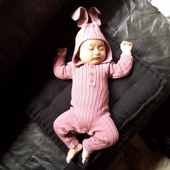 What's cuter than a grown man in a bunny onesie? A baby. Photo by @spencerblamo.