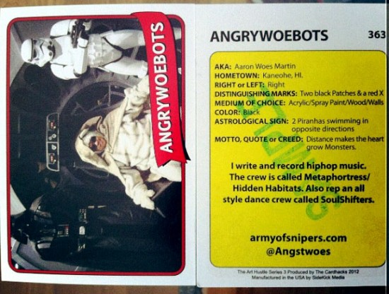 Angry Woebots' card for Art Hustle Series 3