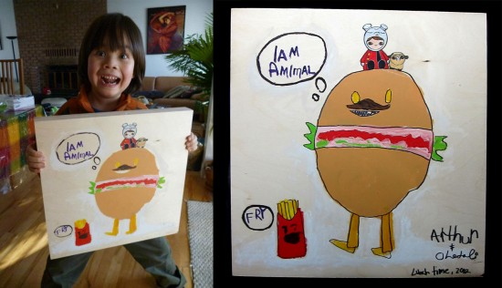 """Lunch Time"" by Arthur (age 5) & Okedoki (acrylic on wood)"
