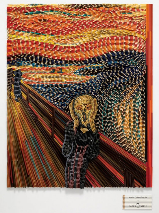 The Scream in colored pencils