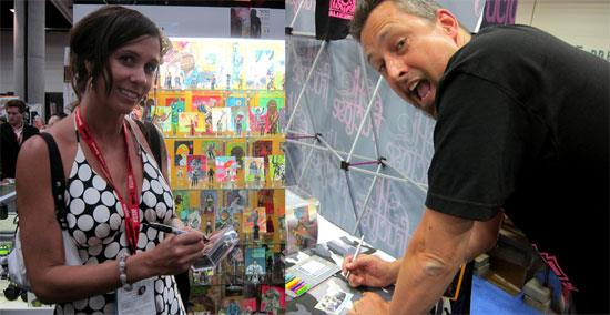"Here's Lulubell's Amy and Don ""Datadub"" signing their Art Hustle cards."