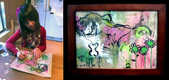 """Paint Clouds"" by Kaida (age 5) and DSKI-one (mixed media, framed)"