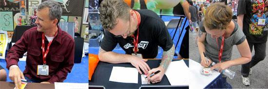 It's Ragnar, Leecifer and Julie West signing their Art Hustle cards.