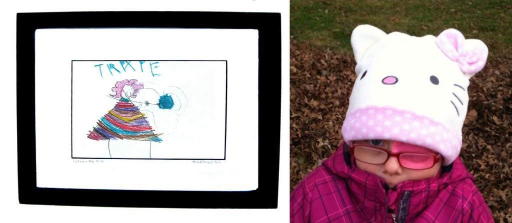"""Self-Portrait with Yo-Yo"" by Trixie Danger (age 4) (Crayon on paper, framed) $40"