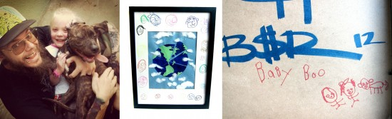 """Untitled"" by Baby Boo (age 5) with Big Money Rodan (mixed media, framed)"