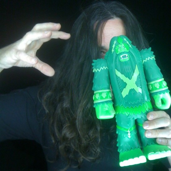 @bigfootone with the green edition of his upcoming vinyl Bigfoot figure by @kusovinyl.