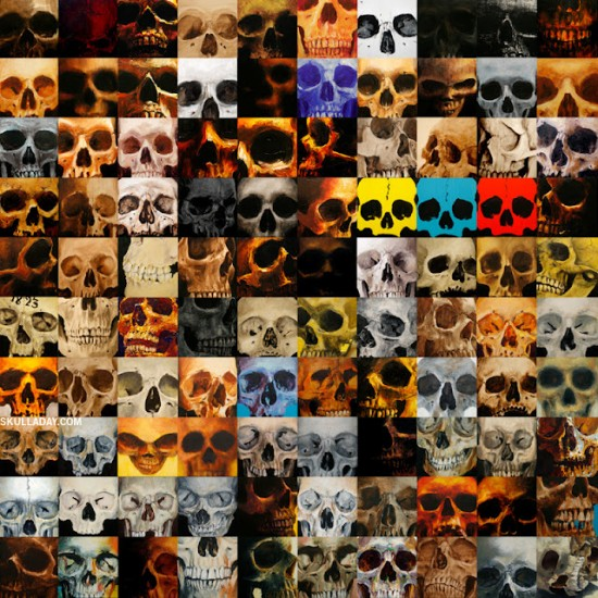 100 Sequential Skulls by Noah Scalin