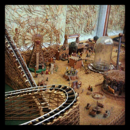 Carnival made of toothpicks at The Musee Mechanique in SF. Photo by @medulao.