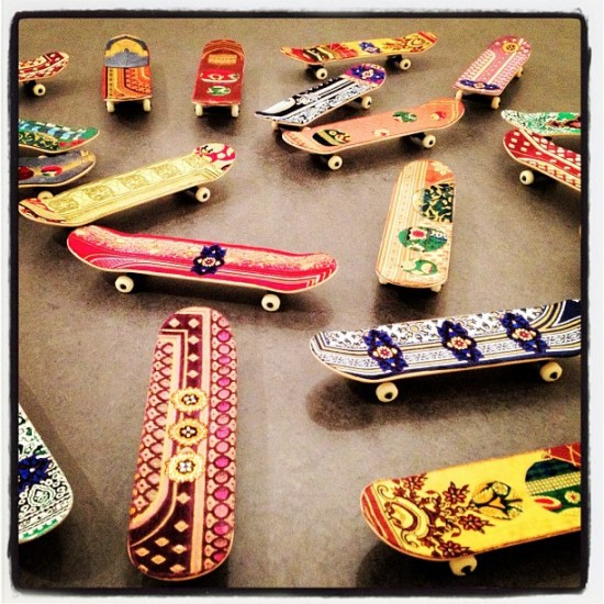 Muslim prayer textile skateboards spotted at The Met in NY. Photo by @jeremyriad.