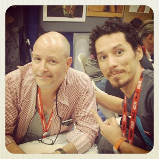 My Mexican brother @chauskoskis meeting his hero, Mike Mignola!