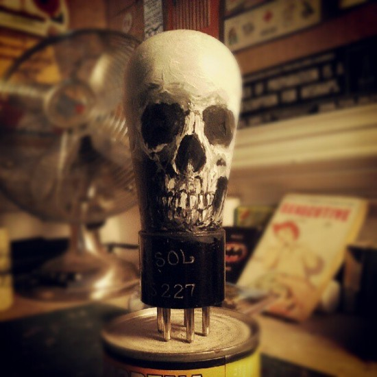 @noahscalin can't stop making skulls. Now he's painting them on vacuum tubes. Awesome and coming soon!