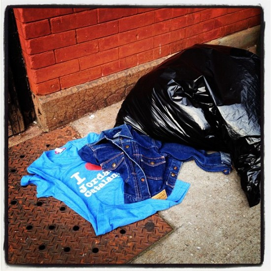 """I Heart Jordan Catalano"" T-shirt in the trash. #mysocalledlife Photo by @jeremyriad."