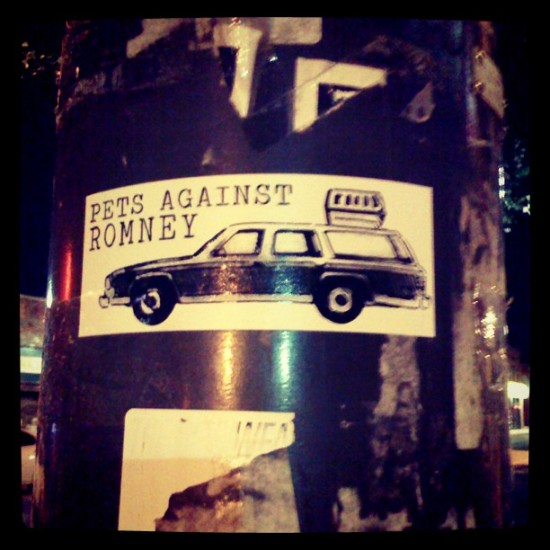 """PETS AGAINST ROMNEY"". Photo by @thesiteunscene."