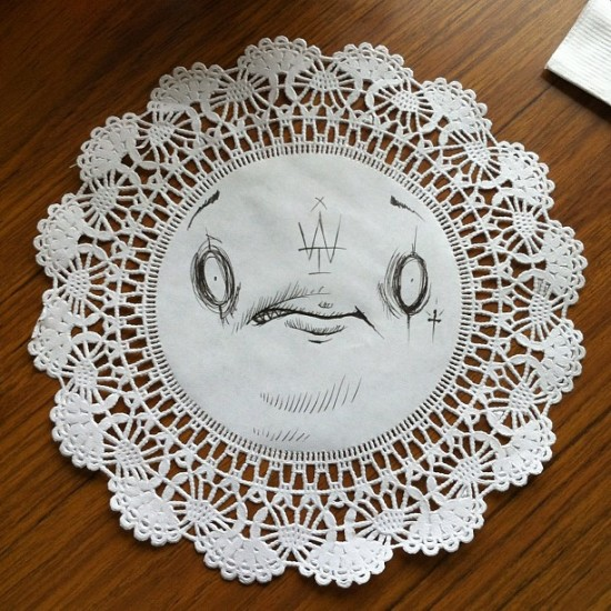 @craola says street art is dead. Doily art is the new black!
