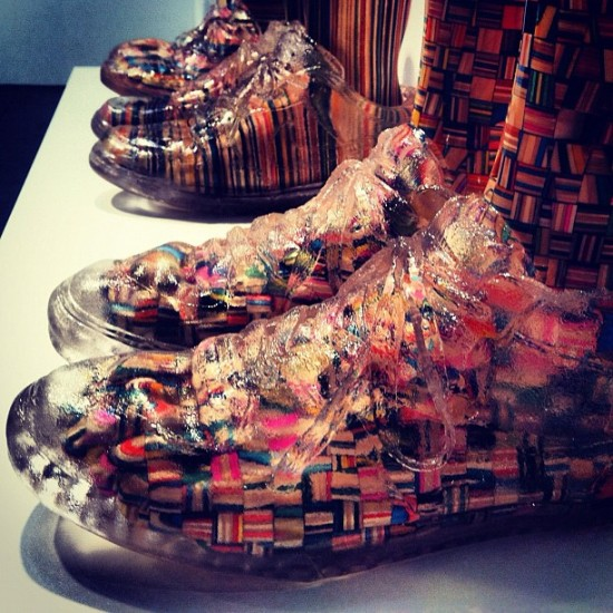Haroshi's recycled skateboard sneakers. Photo by @badpedestrian.