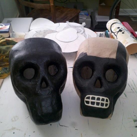 Papier Mache Skulls in progress by Mike Egan