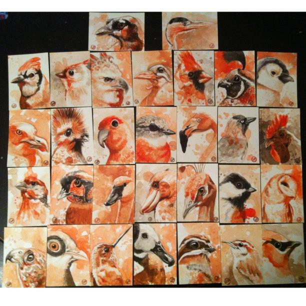 Bird paintings by Lou Pimentel for The Art Hustle
