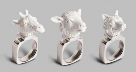 Animal rings by Haoshi Design Studio