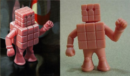 Cubeman painting and Cubeman M.U.S.C.L.E.