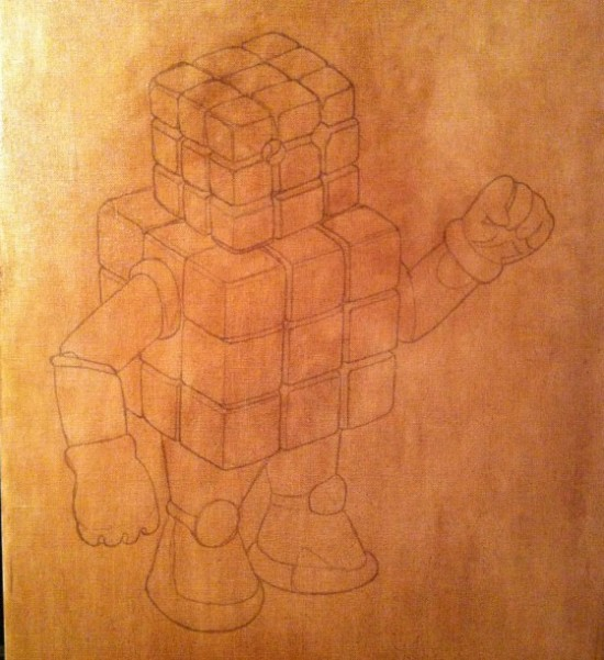 Cubeman oil painting in progress by Lou Pimentel