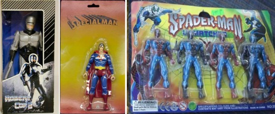 Bootleg superhero action figures