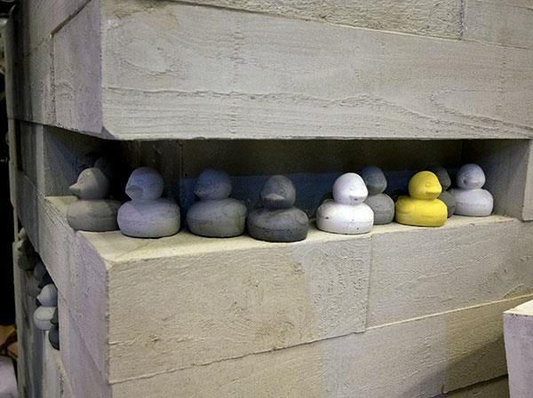 Gray Concrete Ducks