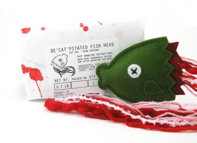 Cheeky Beastie decapitated fishhead cat toy