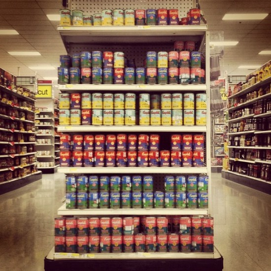 Andy Warhol x Campbell's soup cans at Target. Photo by @arrestedmotion.