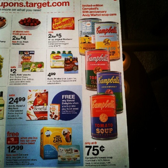 Target flier for Andy Warhol Campbell's soup cans. Photo by @jacquelynmarks.