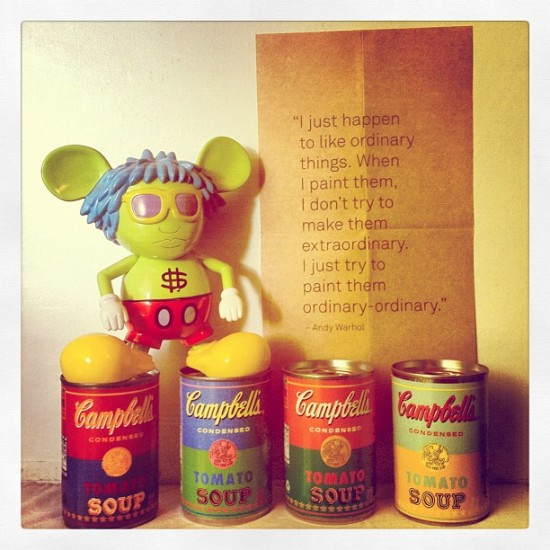 Andy Warhol x Campbell's soup cans with Keith Haring's Andy Mouse