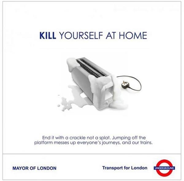 Considerate Suicide Public Service Announcements On London