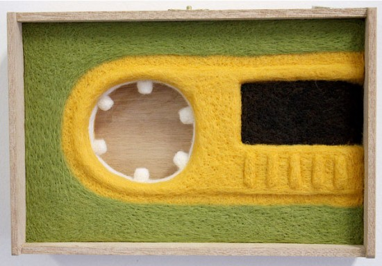 Needle-felted cassette tape by Moxie